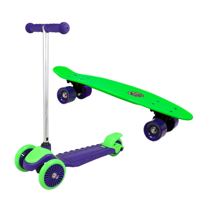 MAUI AND SONS Kid's Mini Sharkman Combo Pack - Penny Board 3-Wheel Scooter - Blue/Green | Removable Aluminium T-bar | Durable Polypropylene Deck