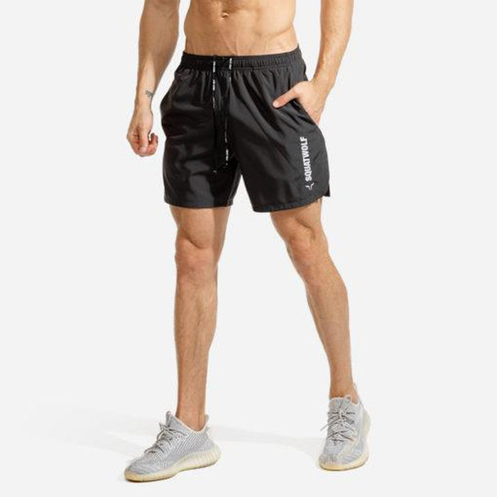 SQUAT WOLF Men's Warrior Shorts Large - Grey | Quick Dry and Extremely Breathable | Cotton/Polyester/Spandex Mix