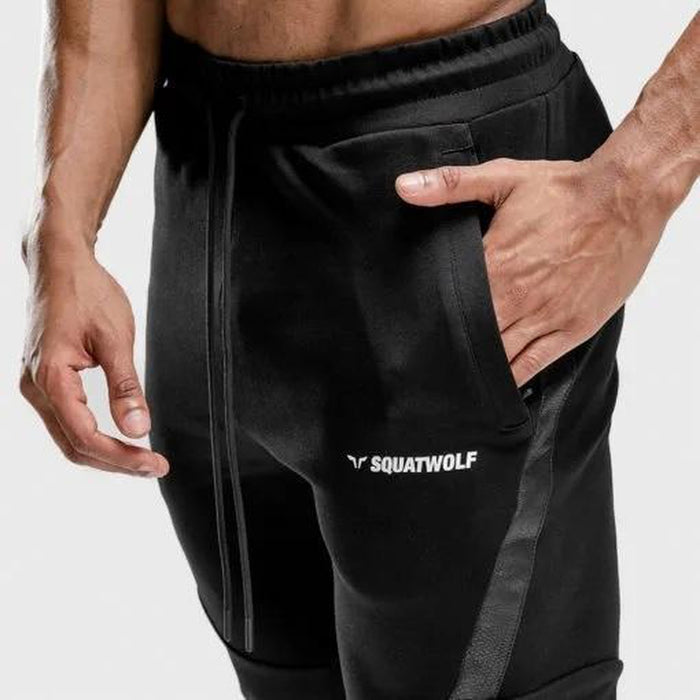 SQUAT WOLF Men's Warrior Jogger Pants XXL - Black | Moisture-wicking Fabric | 100% Performance Cotton