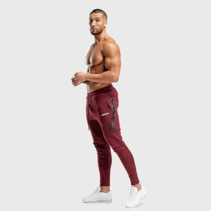 SQUAT WOLF Men's Warrior Jogger Pants Small - Maroon | Moisture-wicking Fabric | 100% Performance Cotton