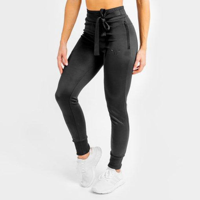SQUAT WOLF Women's She Wolf Do Knot Joggers Medium - Black | Dry-Fit | Nylon/Spandex