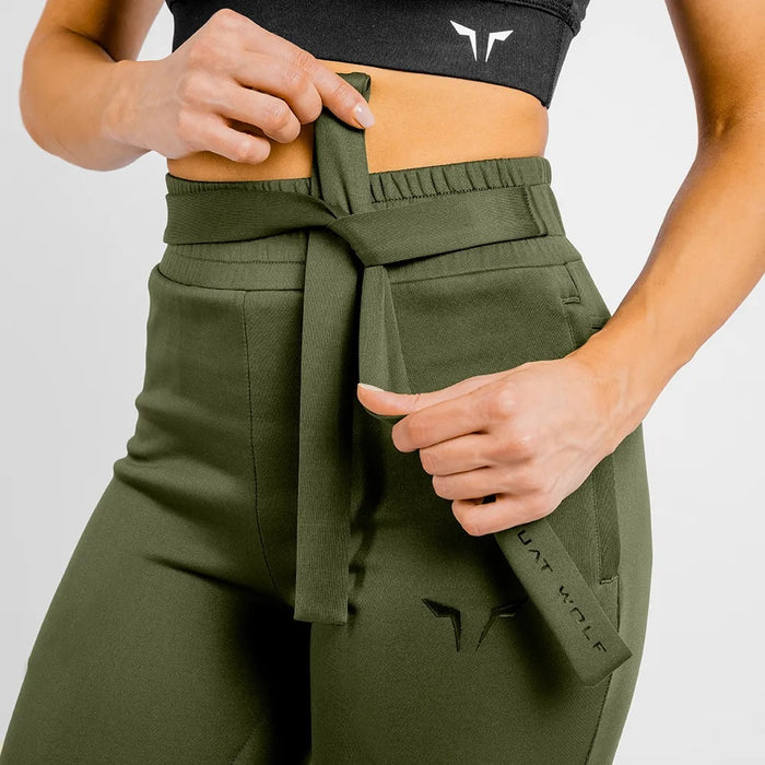 SQUAT WOLF Women's She Wolf Do Knot Joggers Large - Olive | Dry-Fit | Nylon/Spandex
