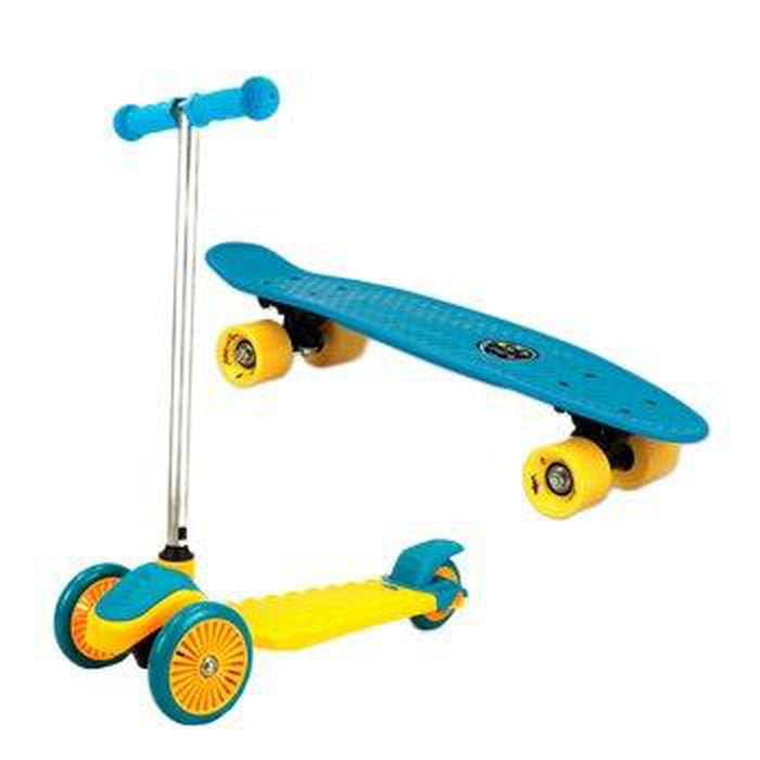 MAUI AND SONS Kid's Mini Sharkman Combo Pack - Penny Board 3-Wheel Scooter - Yellow/Blue | Removable Aluminium T-bar | Durable Polypropylene Deck