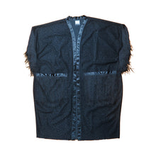 Load image into Gallery viewer, Black Flocked Velour  Fringe MALC Coat