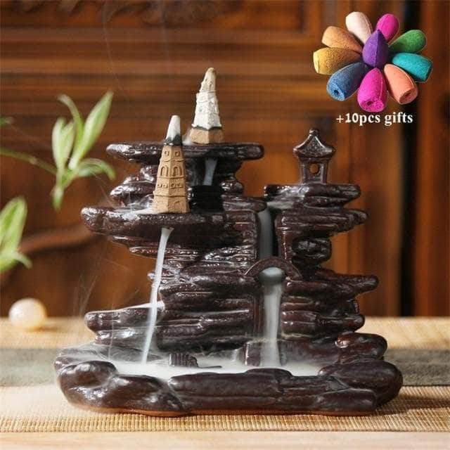 Chakra Mountain Temple Incense Waterfall