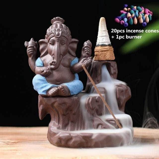 Incense Waterfall Blue -20 cones Ganesha Backflow Incense Burner