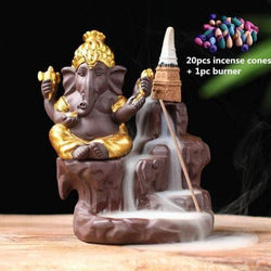 Incense Waterfall Gold -20 cones Ganesha Backflow Incense Burner