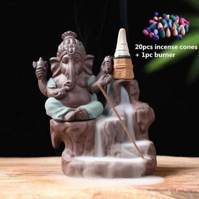 Incense Waterfall Green -20 cones Ganesha Backflow Incense Burner