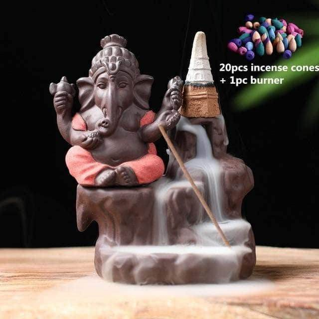 Incense Waterfall Red -20 cones Ganesha Backflow Incense Burner