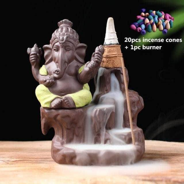 Incense Waterfall Yellow-20 cones Ganesha Backflow Incense Burner