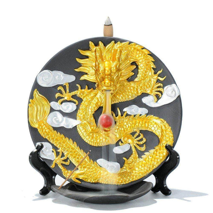 Golden Luck Dragon Dish Burner Incense Waterfall