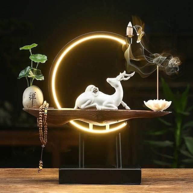 Incense Waterfall C Large Incense Burner Stand Ceramic Waterfall Smoke Backflow Incense Burner Quemador De Incienso Buddhist Supplies OO50XL