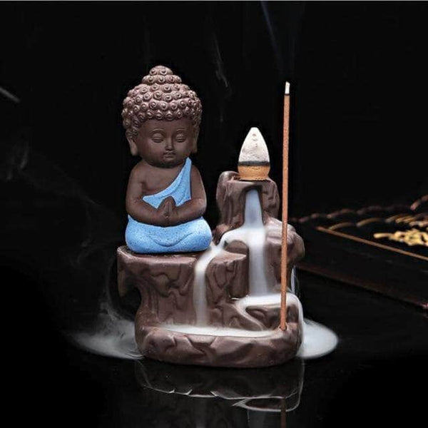 Incense Waterfall Blue Little Monk Censer