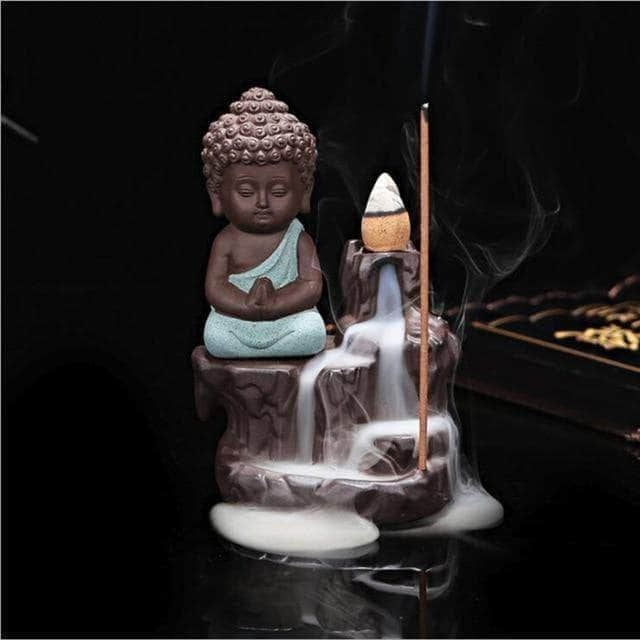 Incense Waterfall Light Green Little Monk Censer