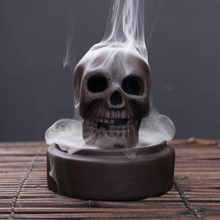 LED Skull Incense Backflow Burner