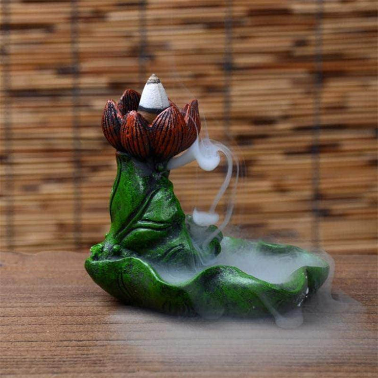 Green Lotus Leaf Flower Backflow Incense Waterfall