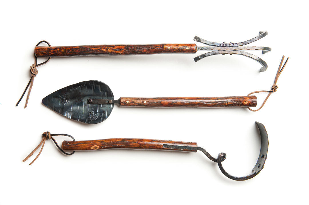 three piece long handled shaggy bark tool set