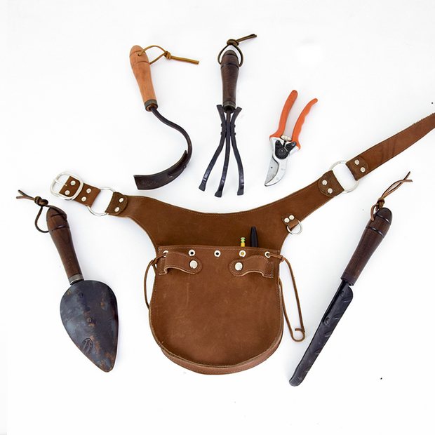 Leather Toolbelt with garden tools