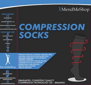 Compression Sock Knee Length Medium Black