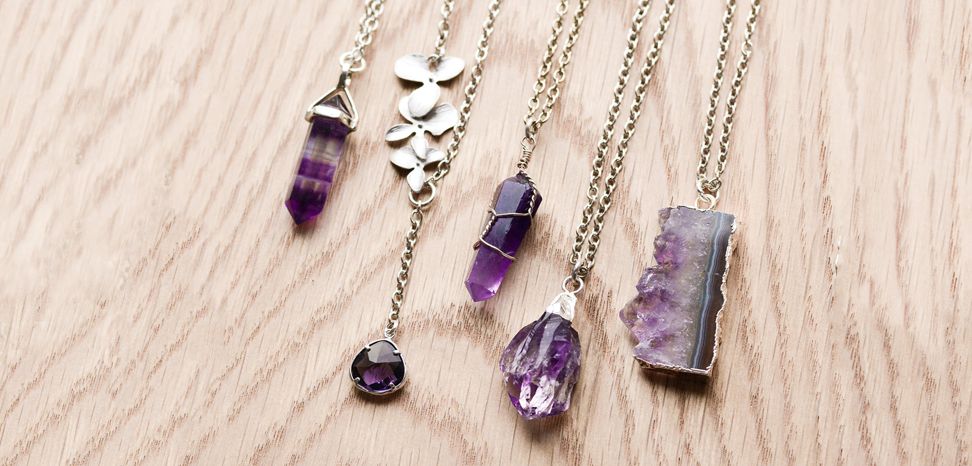 Amethyst gemstone crystal necklaces. Treat yourself to some beautiful on-trend crystal jewellery. Take a look at our favourite handmade pieces.