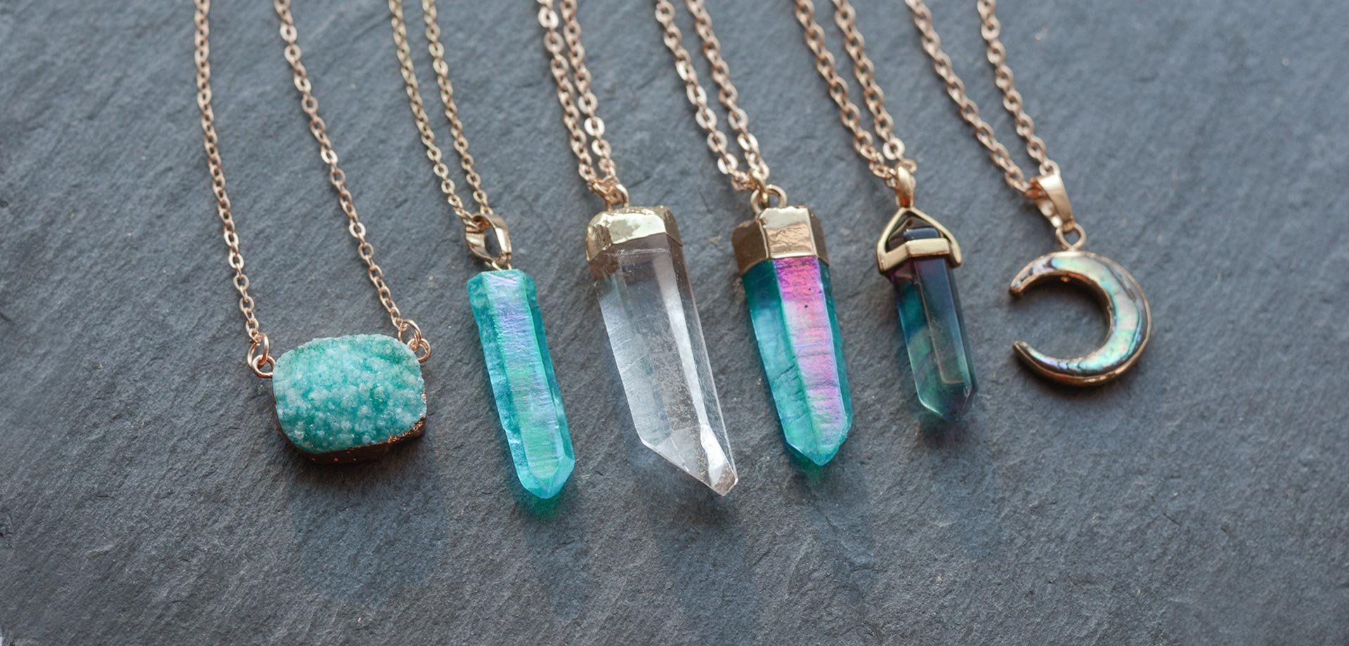 Blue and turquoise angel quartz necklaces. Shop this season's crystal quartz necklaces. Choose your favourite pieces and wear them on different chain lengths.