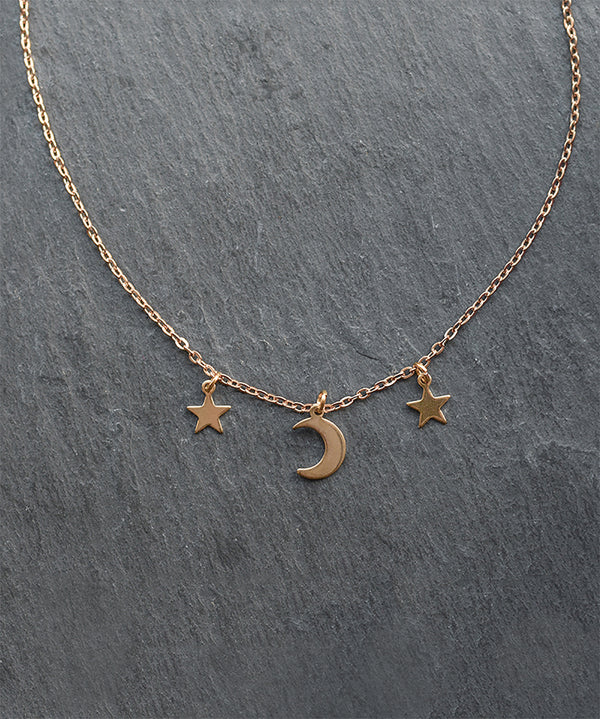 Gold Moon & Stars Layering Choker Necklace