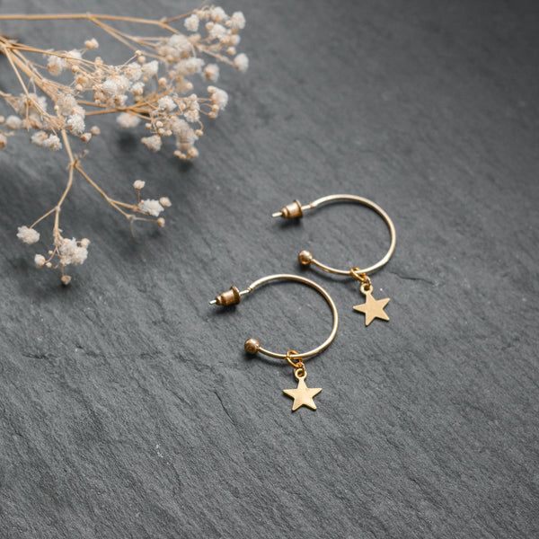 Gold Moon or Star Charm Hoop Earrings
