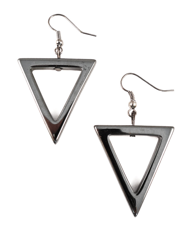 Geometric Gunmetal Triangle Earrings