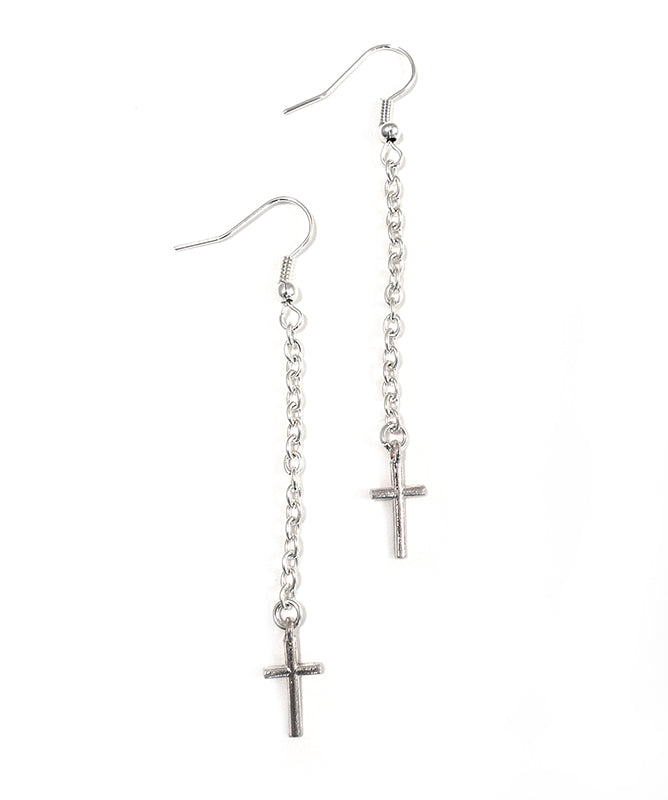 Antique Silver Crosses Chain Earrings