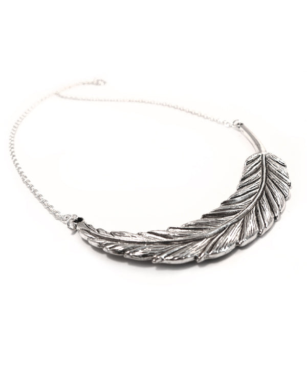 Statement Silver Boho Feather Leaf Necklace