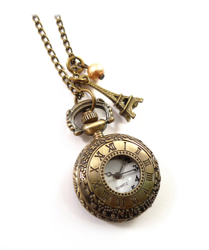 I Love Paris Pocket Watch Necklace