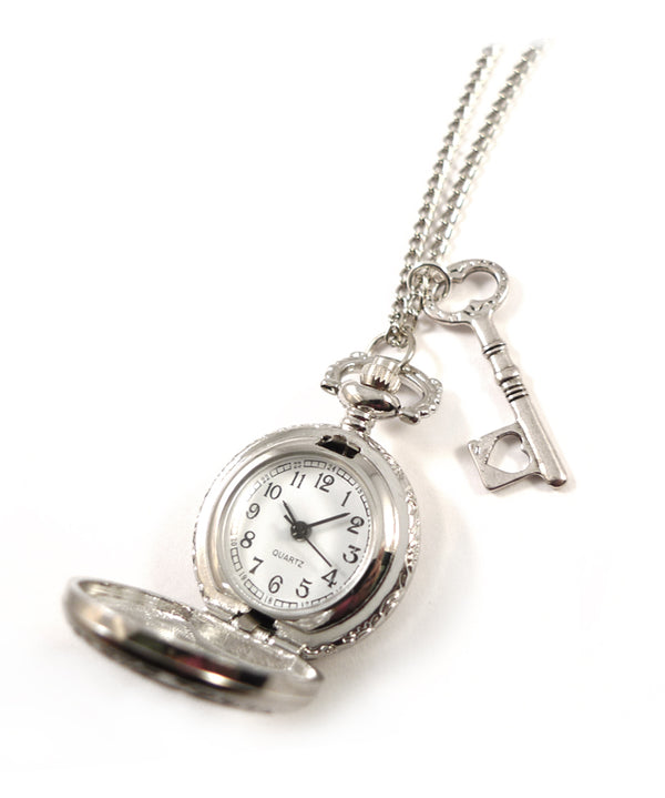 Antique Silver Key Pocket Watch Necklace