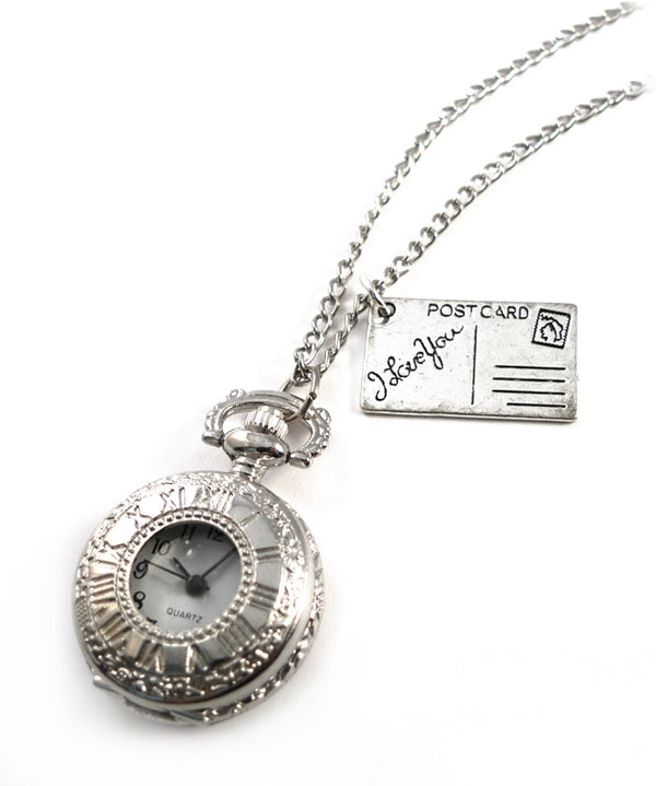 I Love You Postcard Pocket Watch Necklace