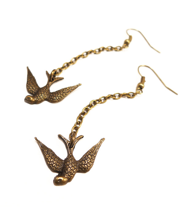 Vintage Bronze Fluttering Swallow Earrings