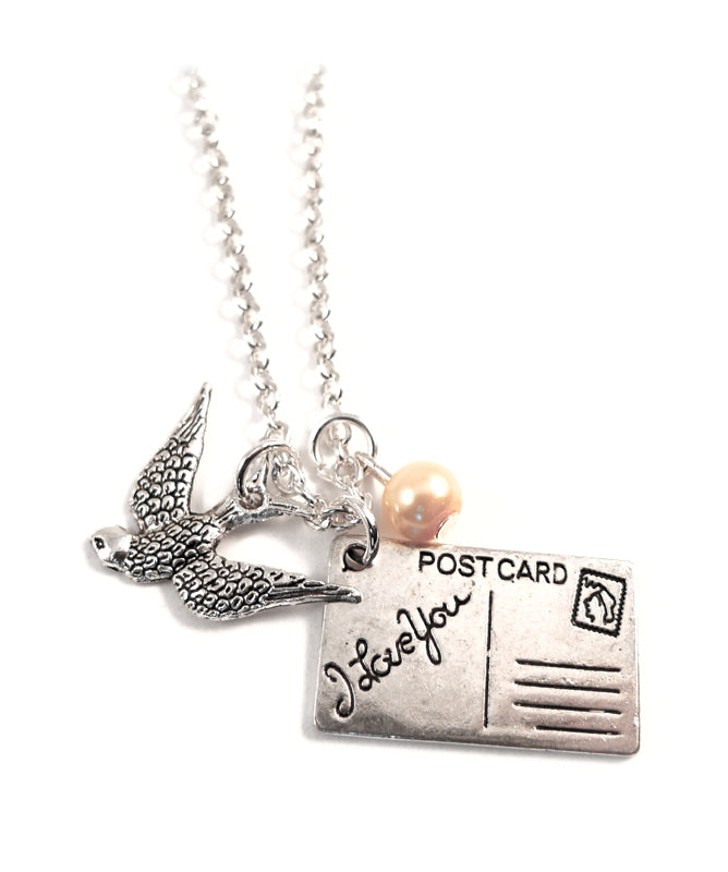 Swallow and 'I Love You' Postcard Necklace