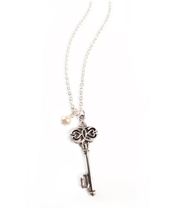 Grandma's Antique Silver Skeleton Key Necklace