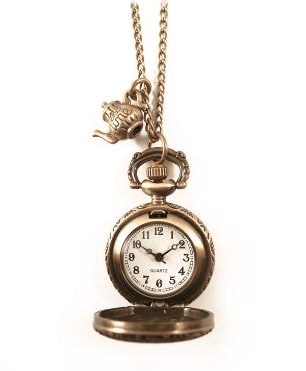 Alice in Wonderland Teapot Clock Necklace
