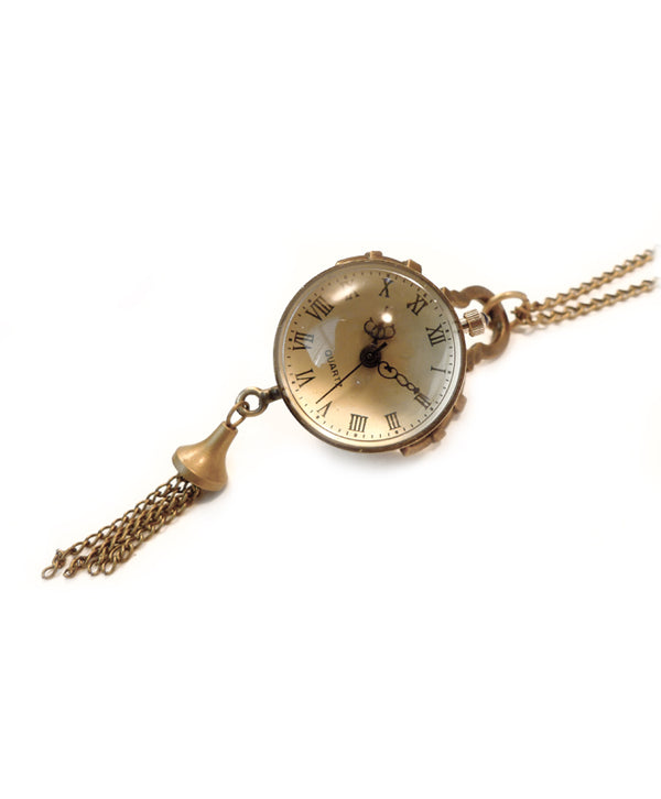 Vintage Bronze Ball Clock Necklace