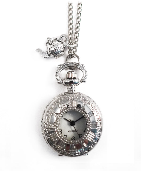 Alice in Wonderland Silver Teapot Clock Necklace