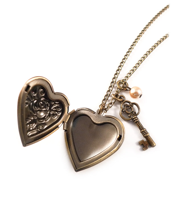 Vintage Bronze Love Locket & Key Necklace