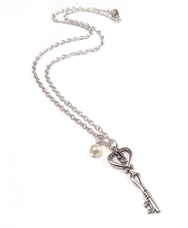 Key to My Heart Silver Key Necklace