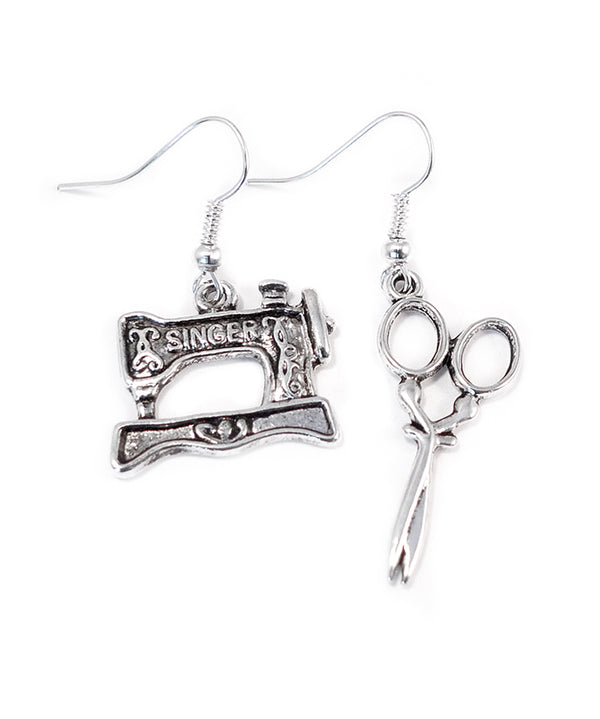 Vintage Sewing Machine and Scissors Earrings