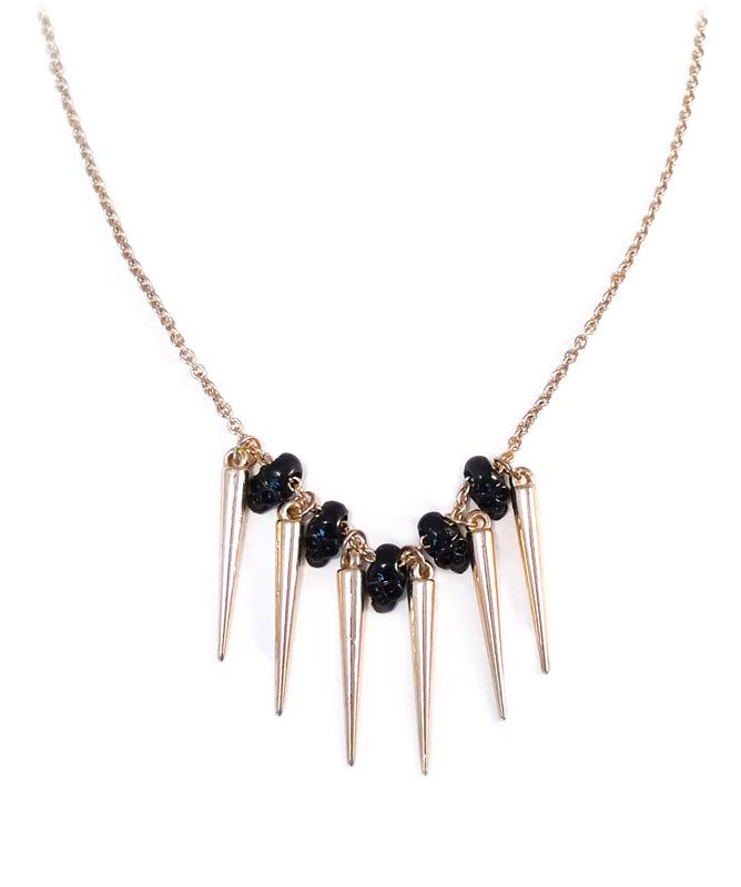 Gold Gothic Spikes and Skulls Necklace