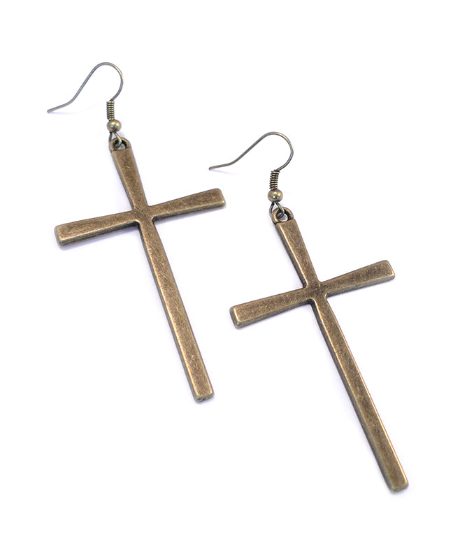 Large Antique Bronze Cross Earrings