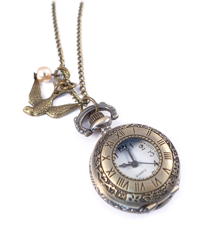 Swallow Birdy Vintage Bronze Clock Necklace