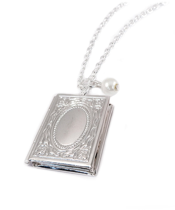 Vintage Silver Book Locket Necklace