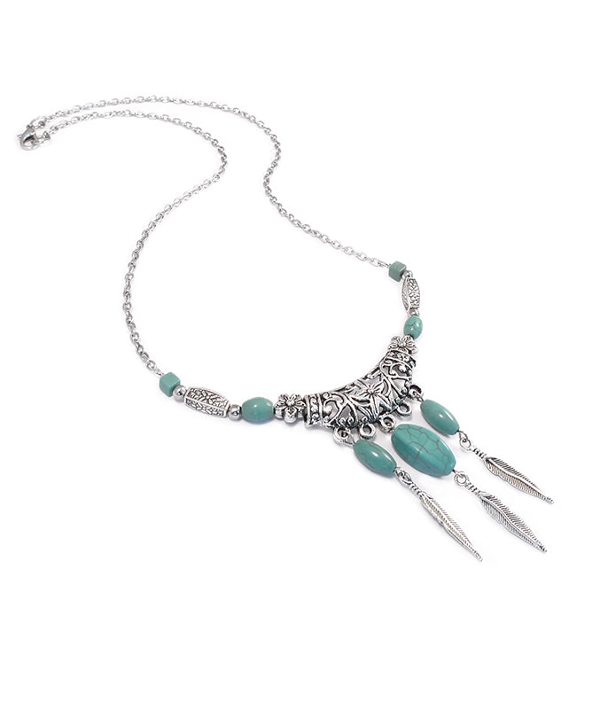 Statement Tribal Feather & Turquoise Necklace