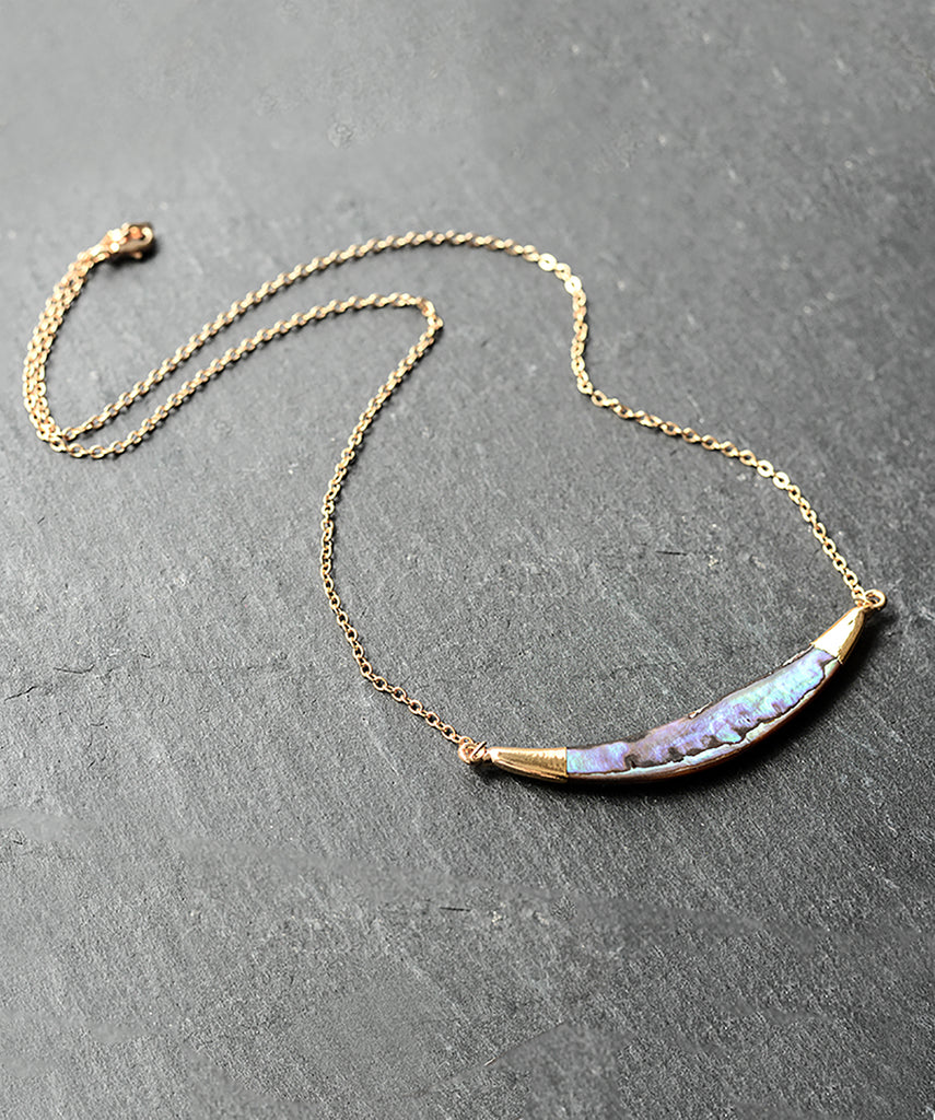 Rainbow Abalone Shell Gold Statement Necklace