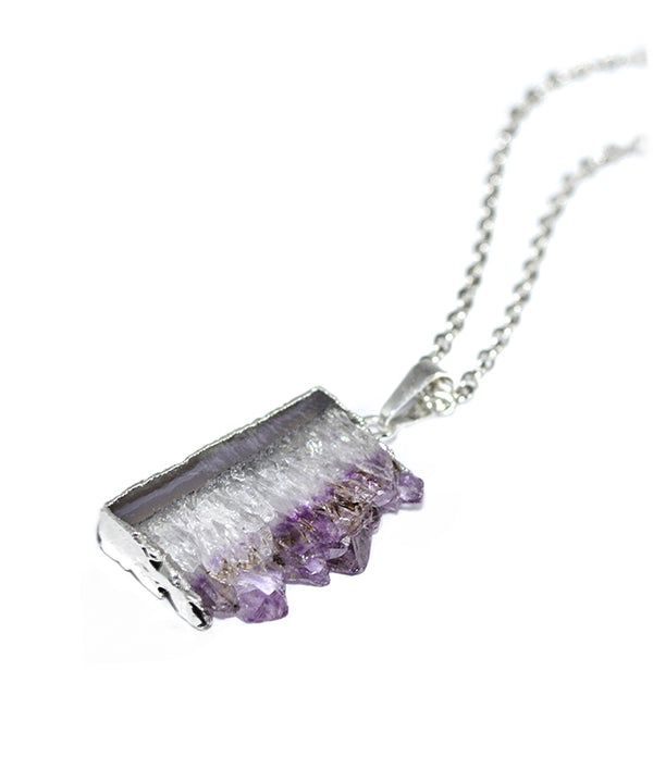 Amethyst Crystal Agate Slice Necklace