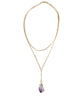 Gold Amethyst Crystal Layered Chain Necklace